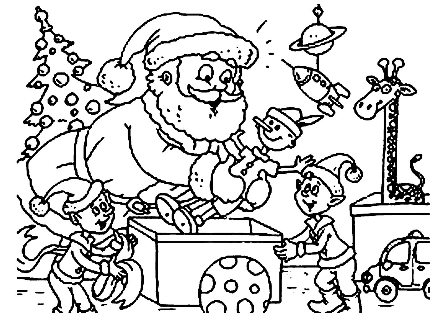 Santa Claus Coloring Pages To Print With Bag Of Toys Bright Clause Picture