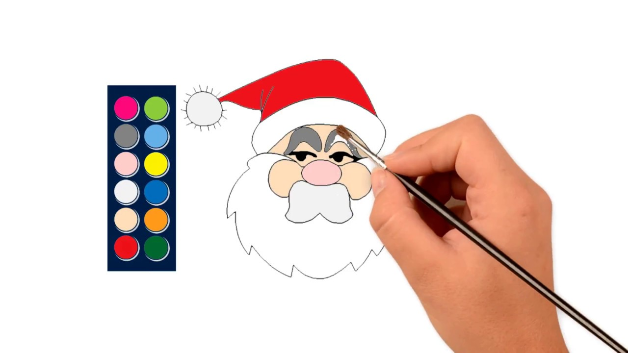 Santa Claus Face Coloring Pages With How To Draw YouTube