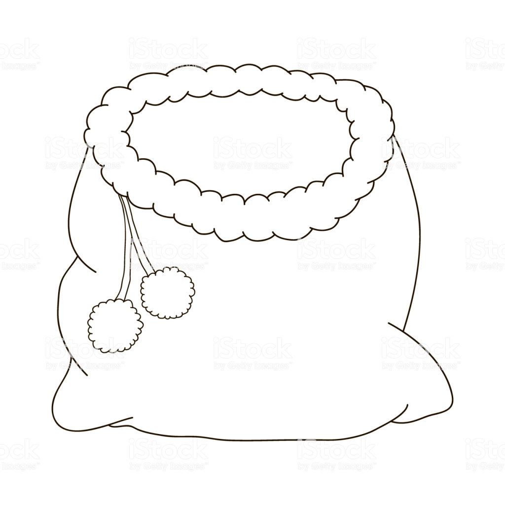 Santa Claus Hat Coloring Page With Bag Of For A Christmas Cartoon Pages