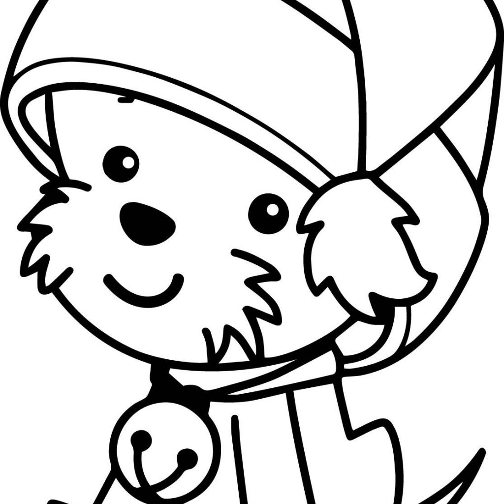 Santa Claus Hat Coloring Page With Christmas Cute Dog Wecoloringpage
