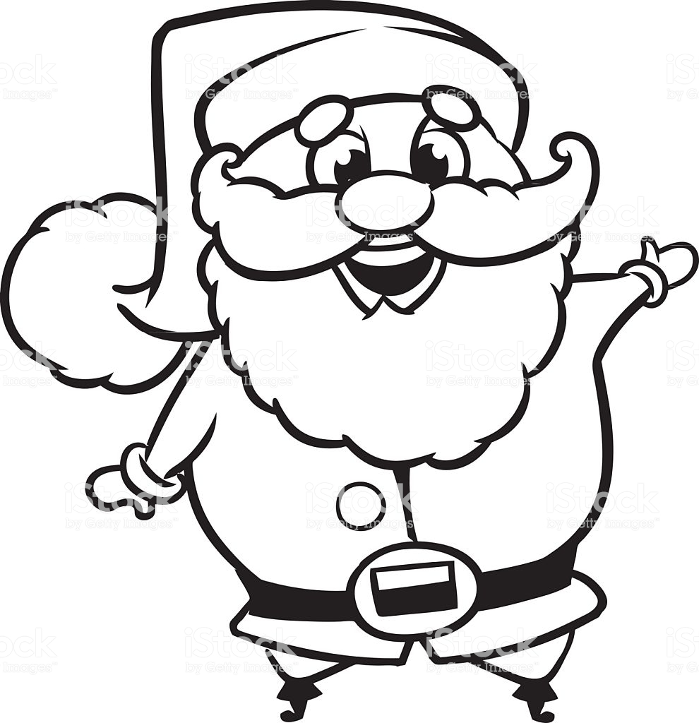 Santa Claus Hat Coloring Page With Outline Of A Vector Character Stock