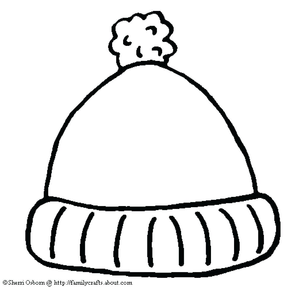 Santa Claus Hat Coloring Page With Suddenly Winter Mitten Small And Snow