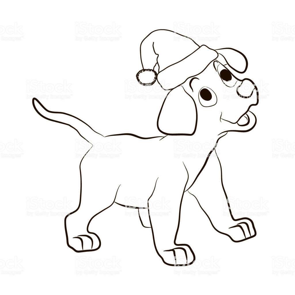 Santa Claus Hat Coloring Page With The Puppy In Of Smiles Animals Pages