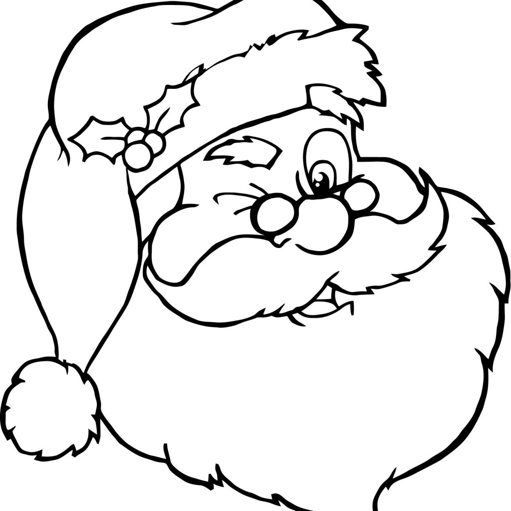 Santa Claus Head Coloring Pages With Awesome Cartoon Design Printable