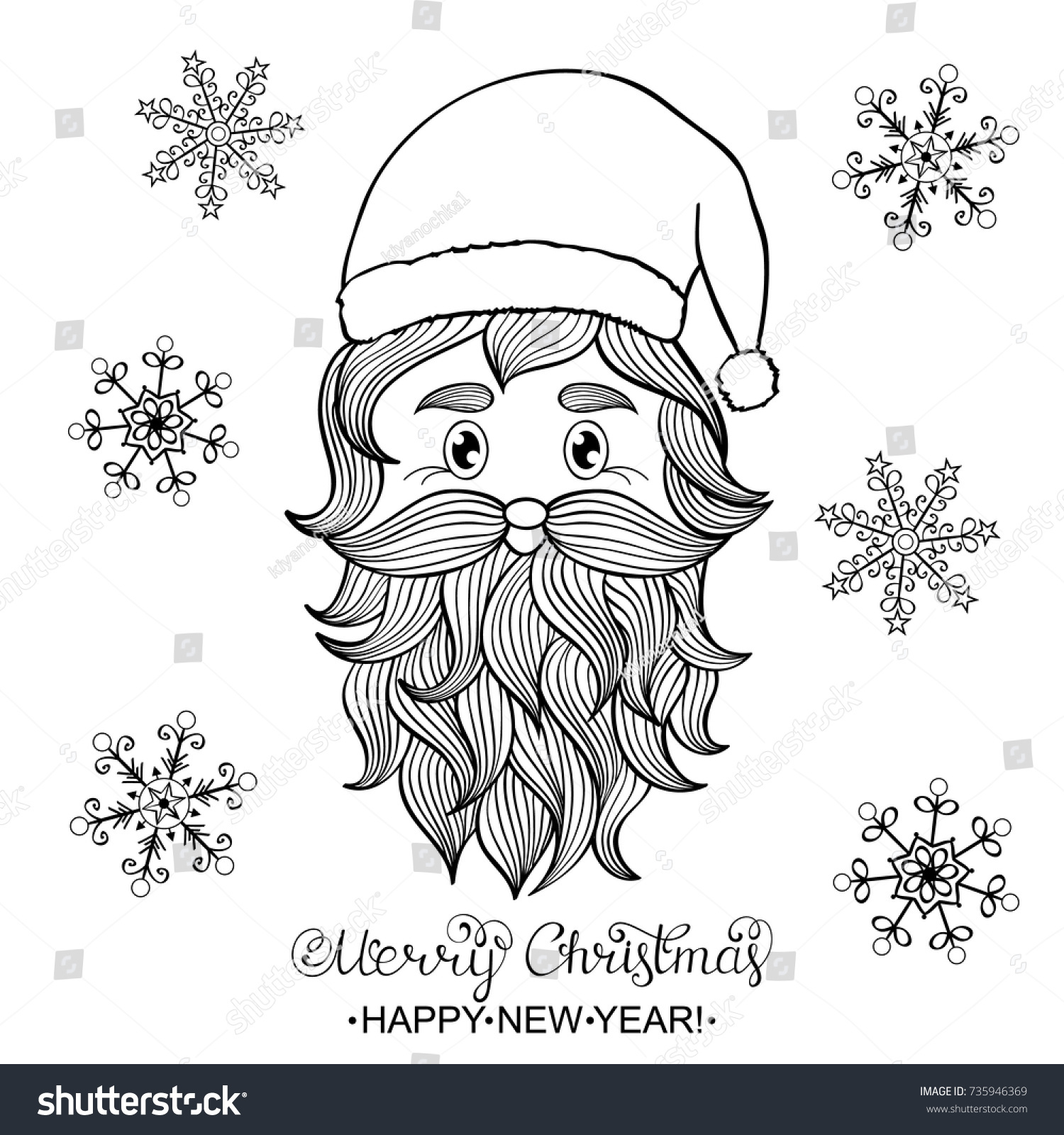 Santa Claus Head Coloring Pages With Hand Drawn On Stock Vector Royalty Free 735946369