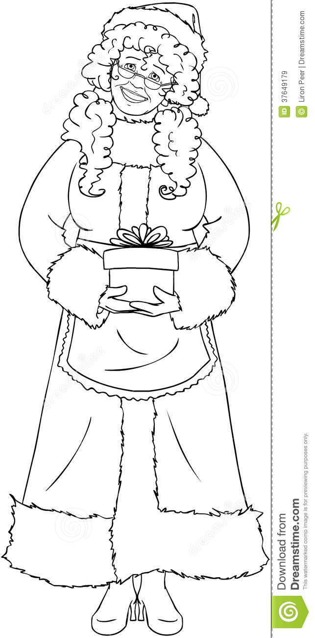 Santa Claus Head Coloring Pages With Mrs Holding A Present Page Stock Vector