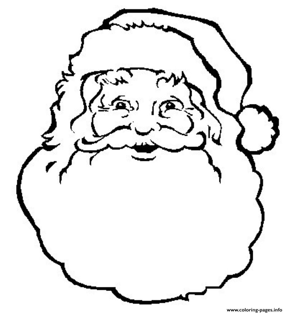 Santa Claus Head Coloring Pages With Print Face Of S Freee02a Free Christmas