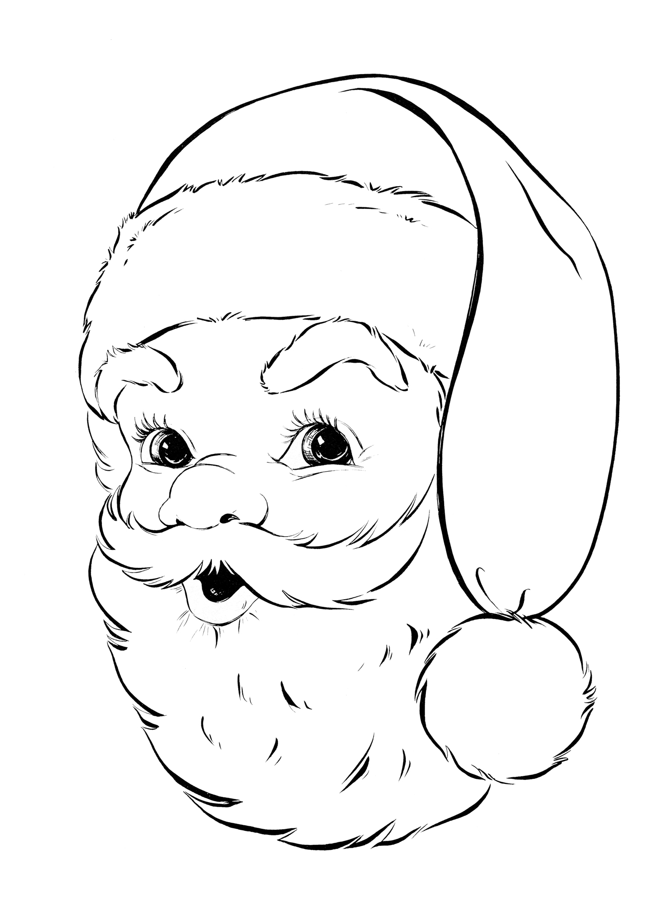 Santa Claus Head Coloring Pages With Retro Page The Graphics Fairy