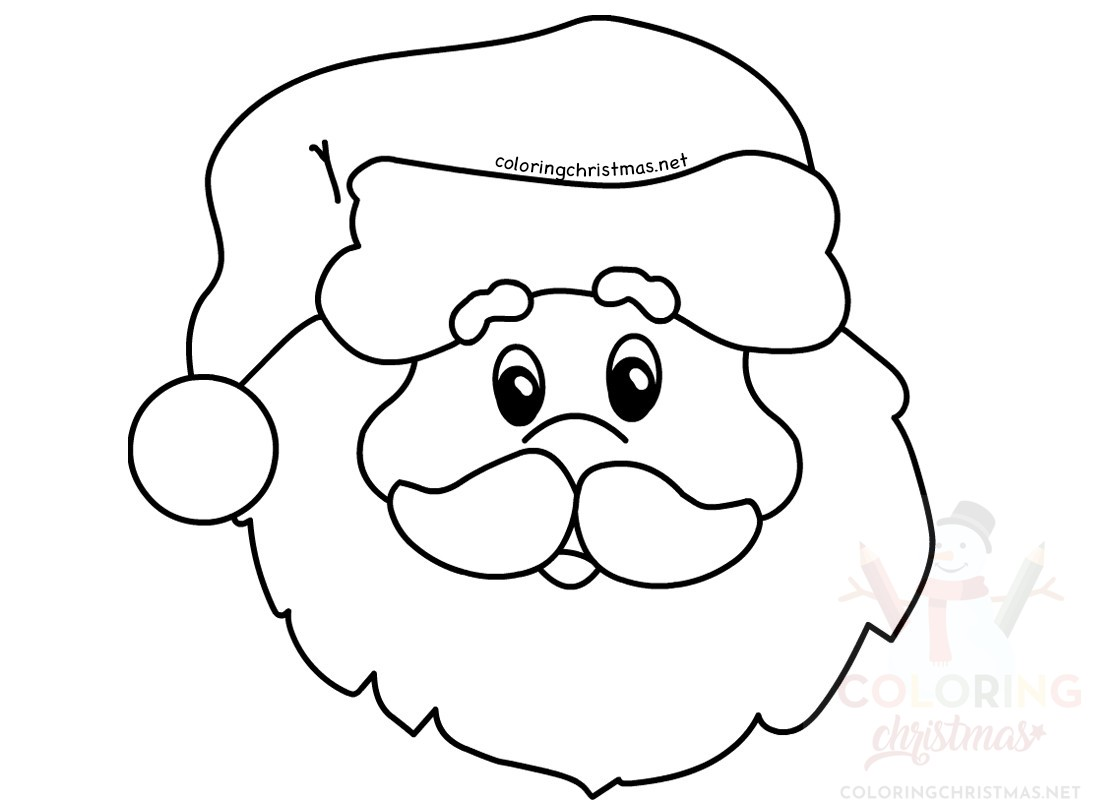 Santa Claus Head Coloring Pages With Simple Portrait Page Christmas