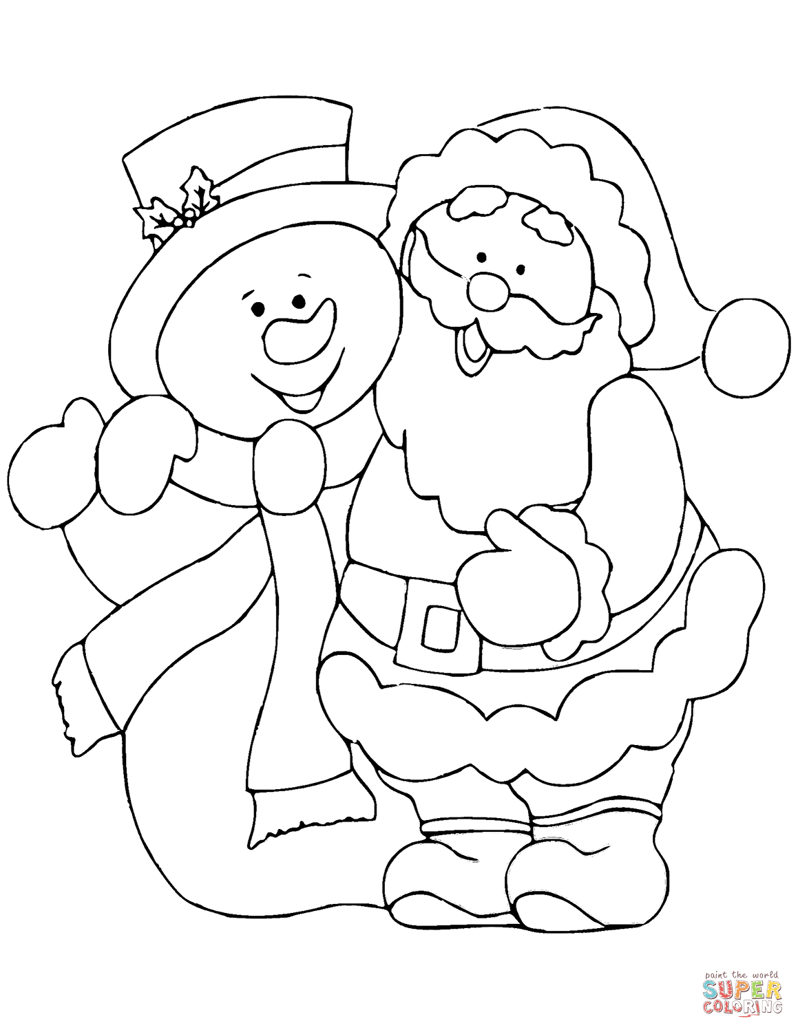 Santa Claus Head Coloring Pages With Snowman Page Free Printable