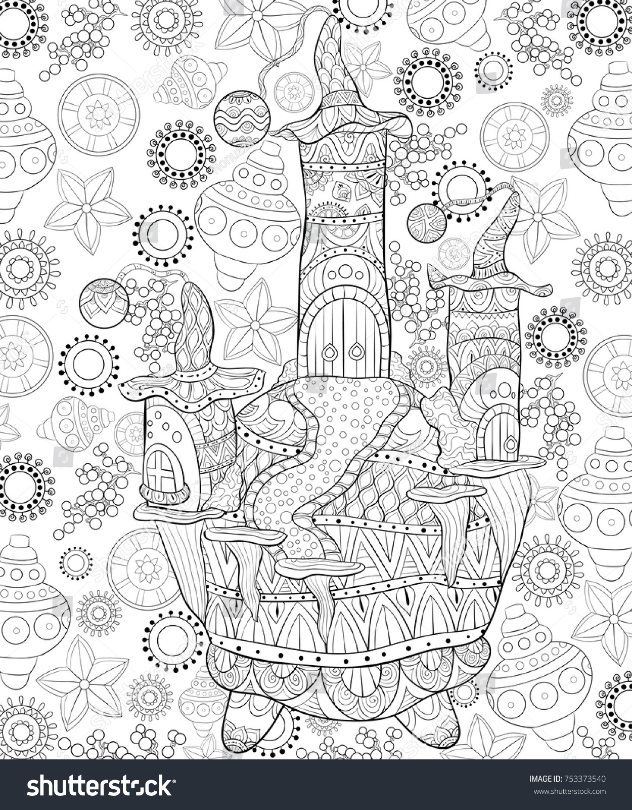 Santa Claus House Coloring Pages With Adult Pagebook Christmas Cute Illustration Stock Vector
