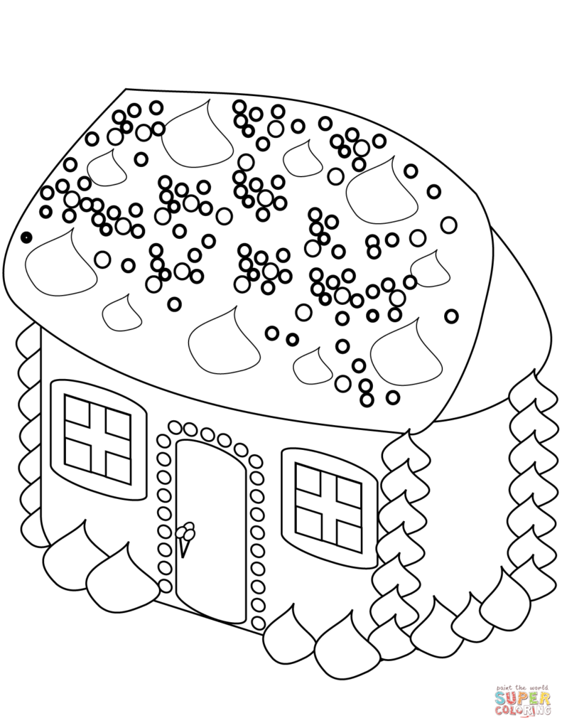 Santa Claus House Coloring Pages With Gingerbread Page Free Printable