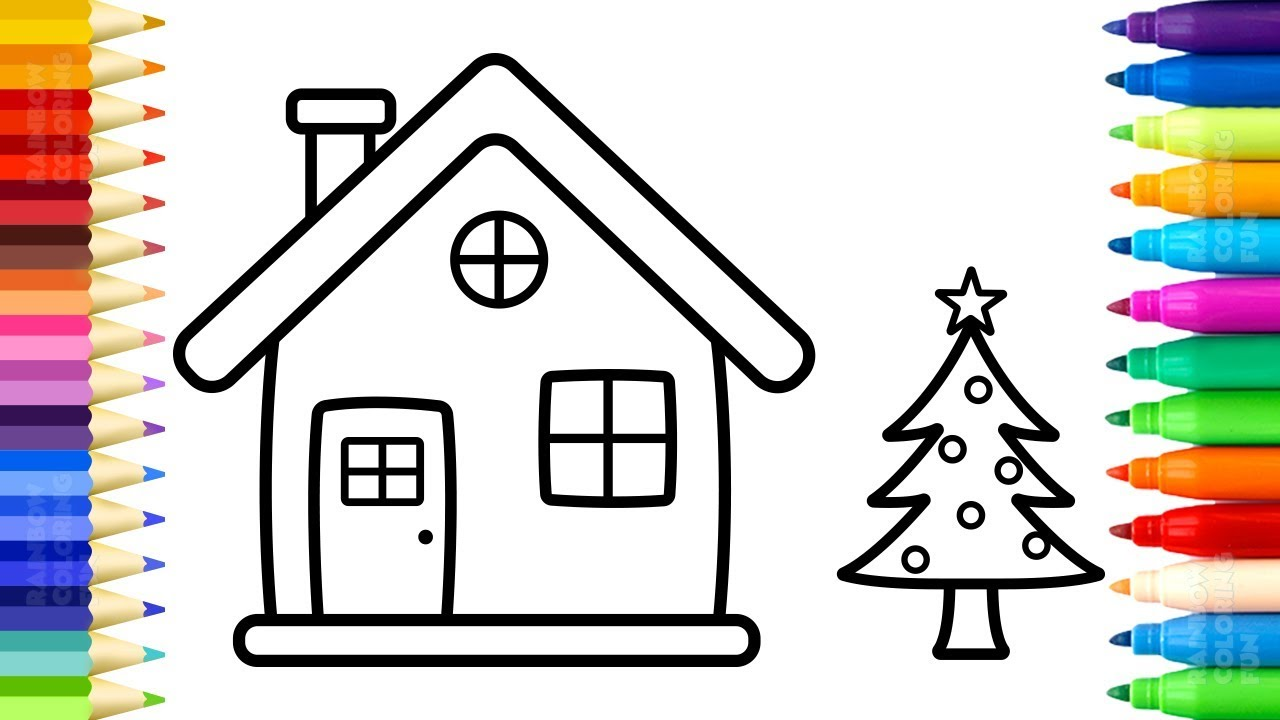 Santa Claus House Coloring Pages With How To Draw And Paint Christmas Tree