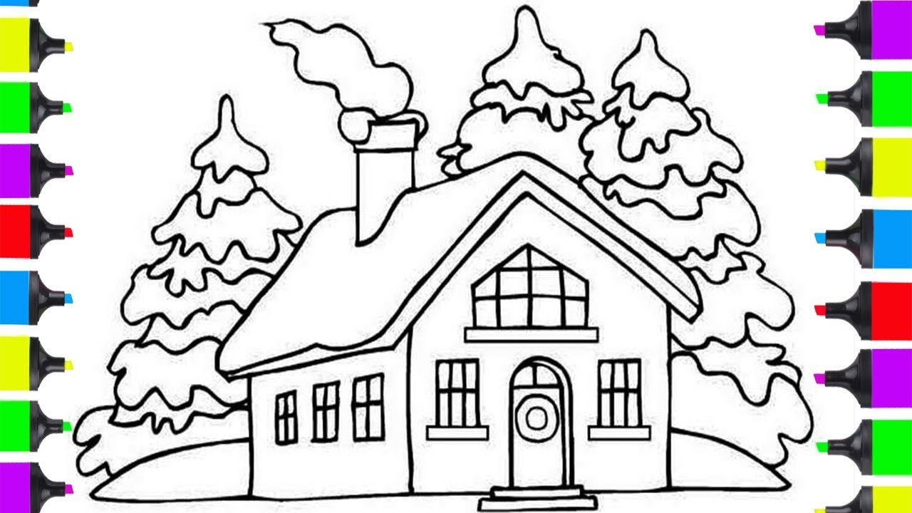 Santa Claus House Coloring Pages With How To Draw CHRISTMAS Clause HOUSE For Kids
