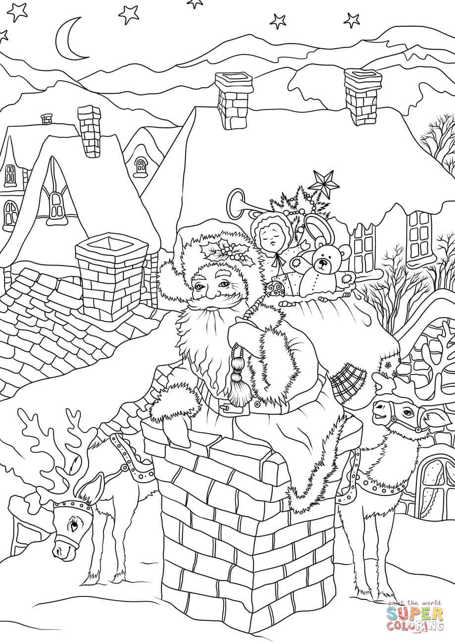 Santa Claus House Coloring Pages With Presents Is Entering The Via Chimney