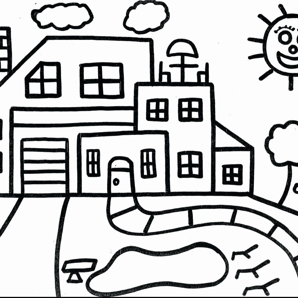 Santa Claus House Coloring Pages With School