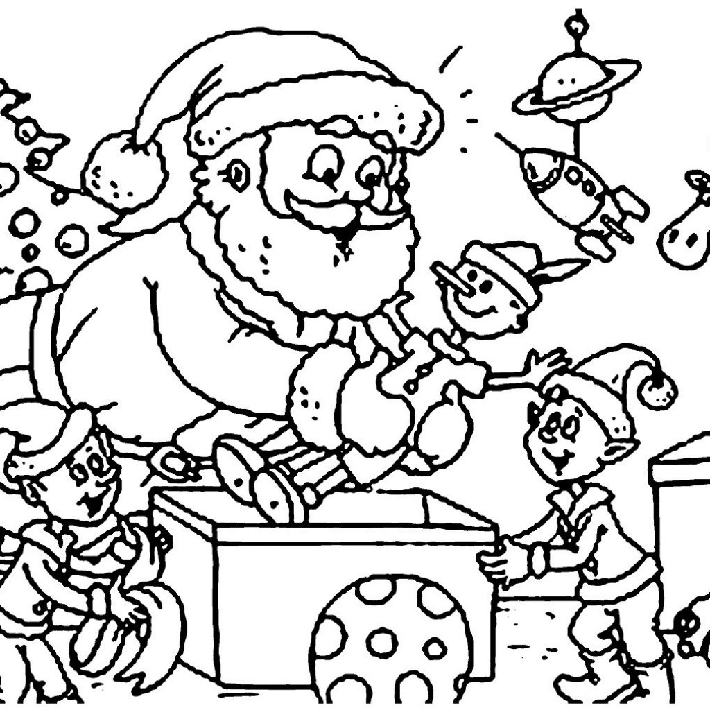Santa Claus Print Out Coloring Pages With Bag Of Toys Bright Clause Picture