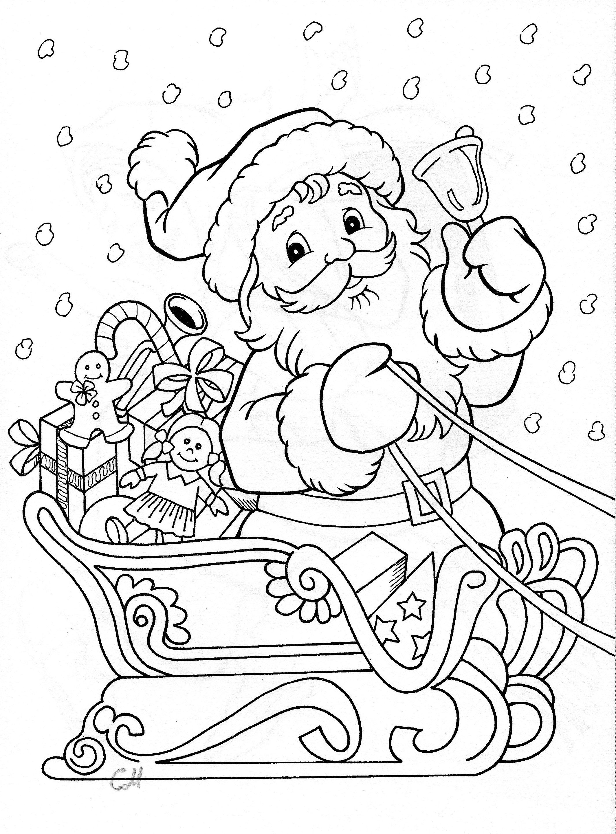 Santa Colored In With Coloring Fotocopiar Pinterest Christmas Colors