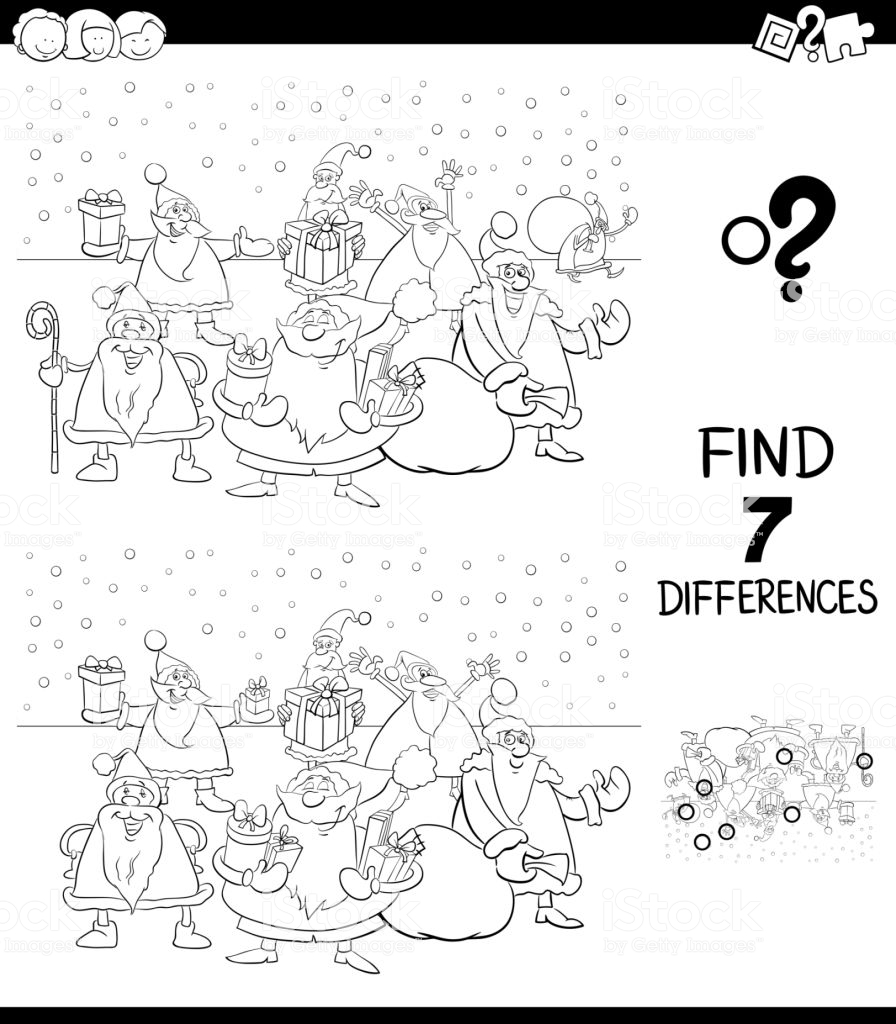Santa Coloring Book Games With Differences Game Xmas Claus Color Stock Vector Art