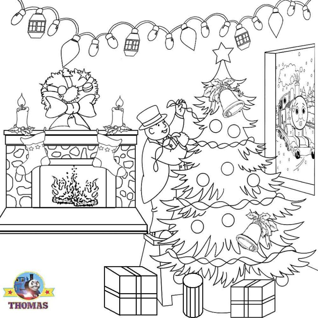 Santa Coloring Book Games With Thomas Christmas Sheets For Children Printable Pictures