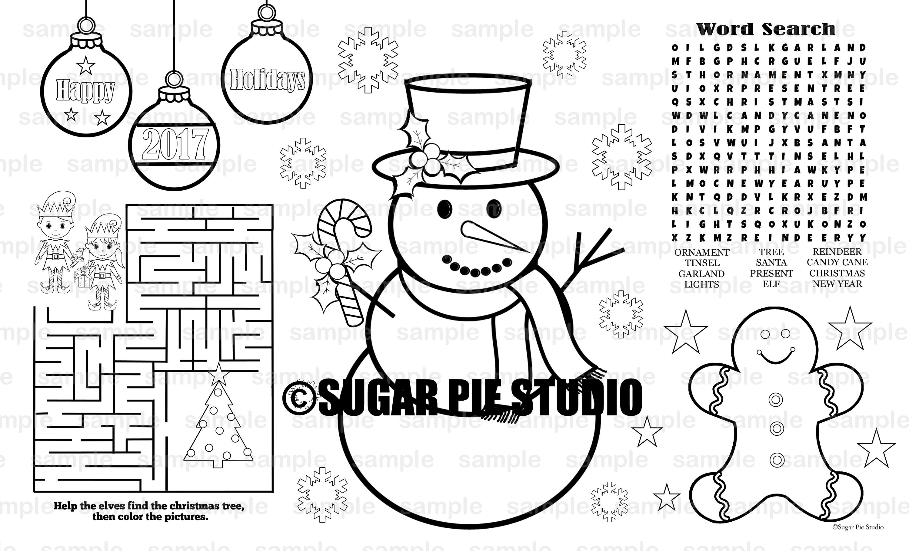 Santa Coloring Book Pdf With Christmas Snowman Placemat PDF And JPEG Available Etsy