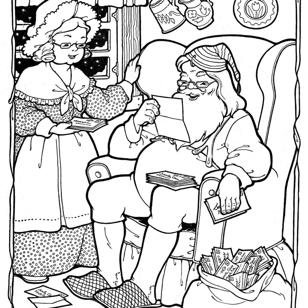 Santa Coloring Book Pdf With Kids Printable Page Christmas The Graphics Fairy