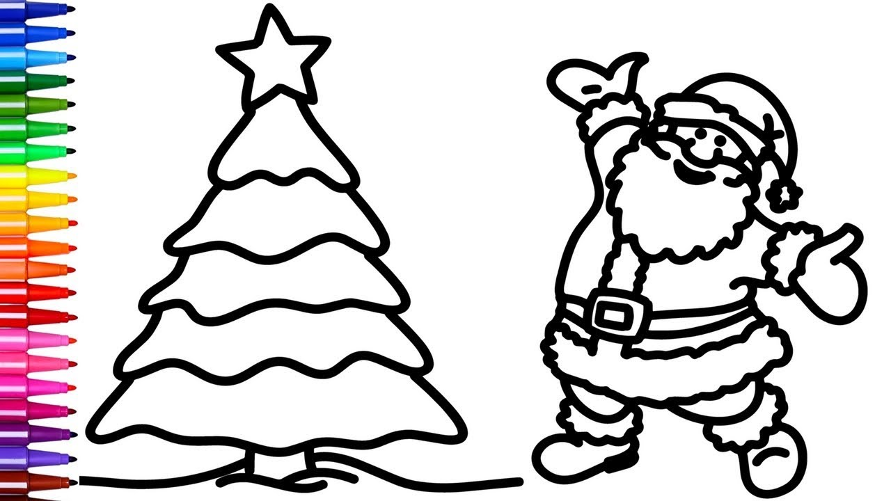Santa Coloring Book Pictures With And Christmas Tree Pages Creativity Colors