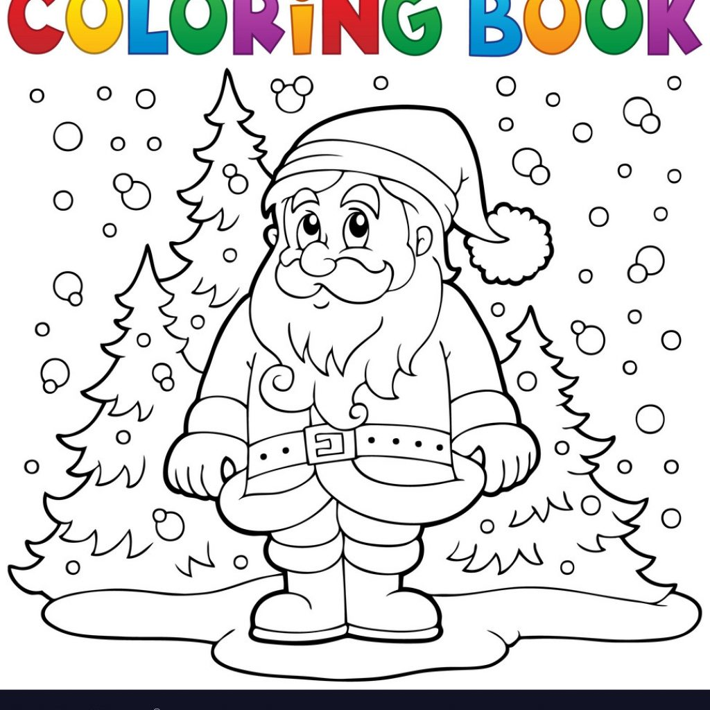 Santa Coloring Book Pictures With Claus In Snow 3 Royalty Free Vector