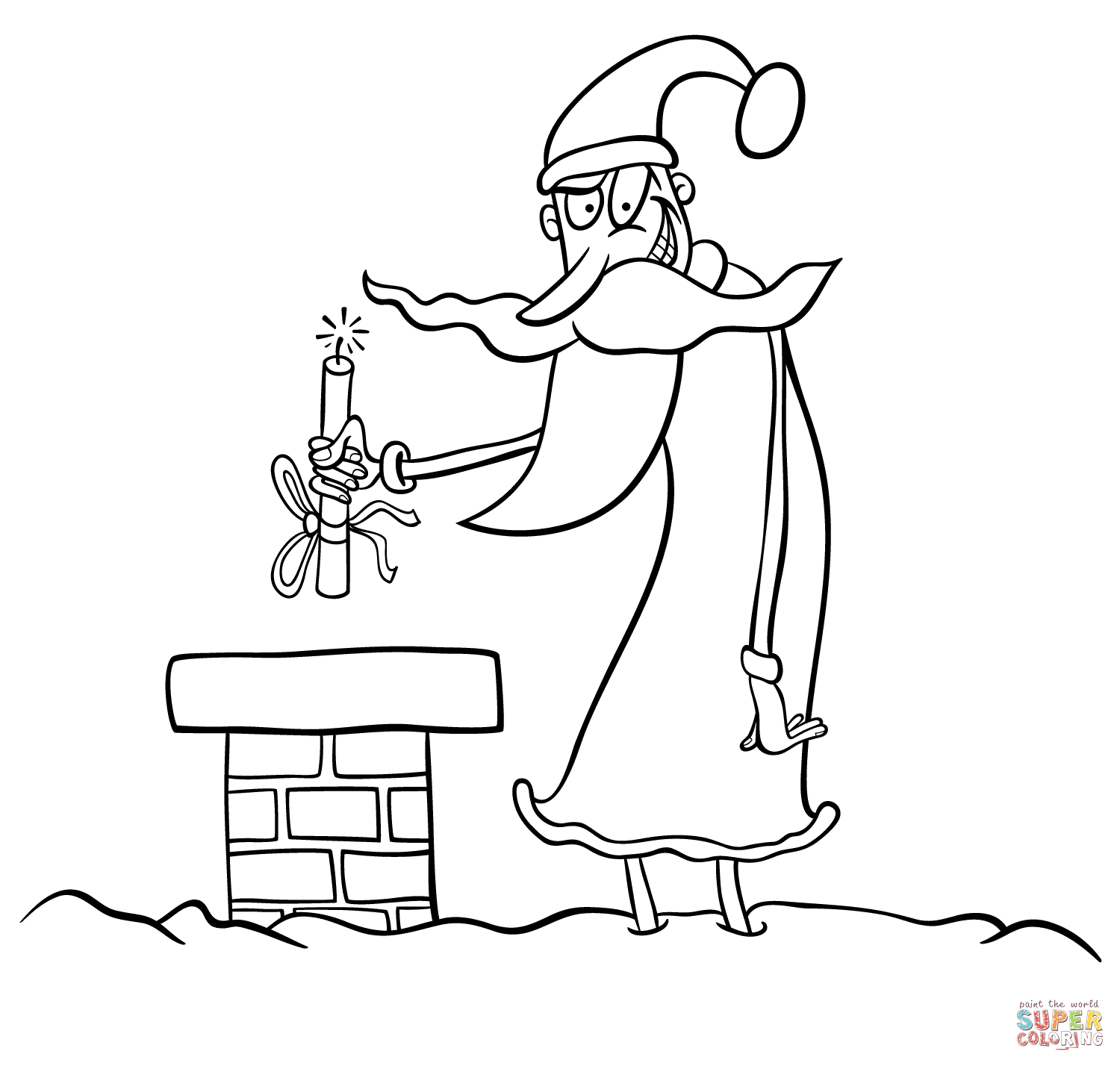 Santa Coloring Book Pictures With Evil Page Free Printable Pages