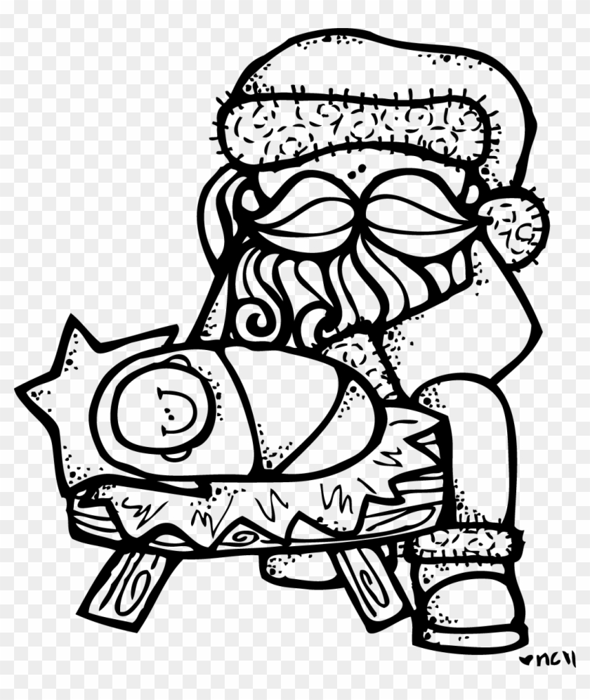 Santa Coloring Clip Art With Baby Jesus Page Free