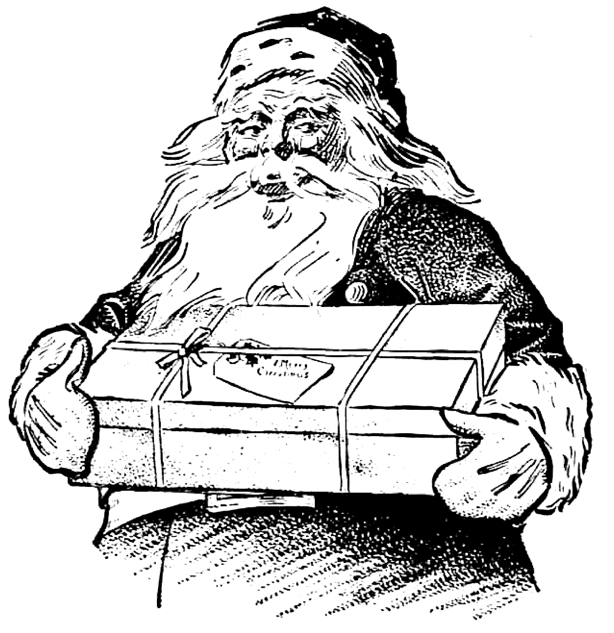 Santa Coloring Clip Art With Vintage Christmas Gift The Graphics Fairy