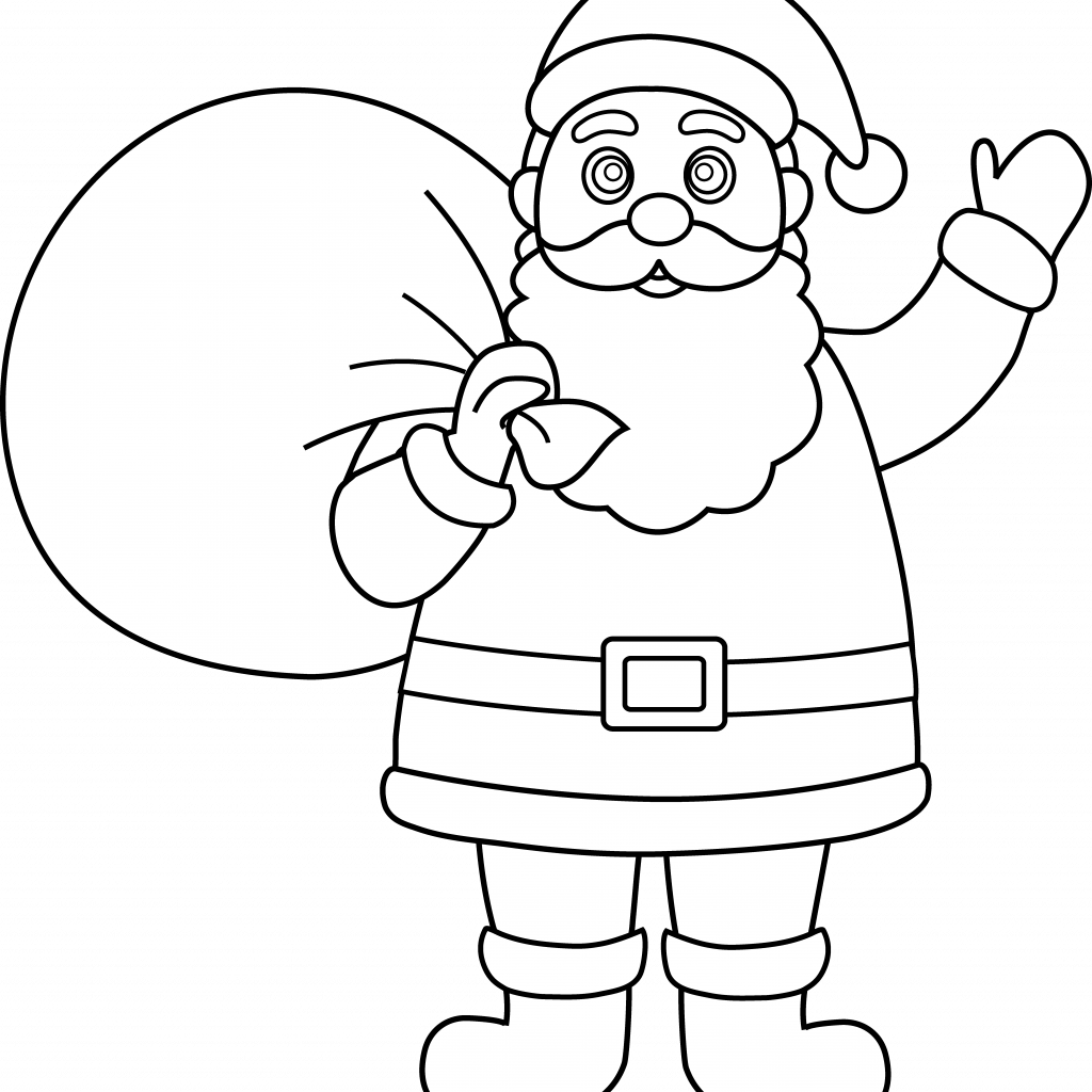 Santa Coloring Clipart With Free Black Claus Pictures Download Clip Art