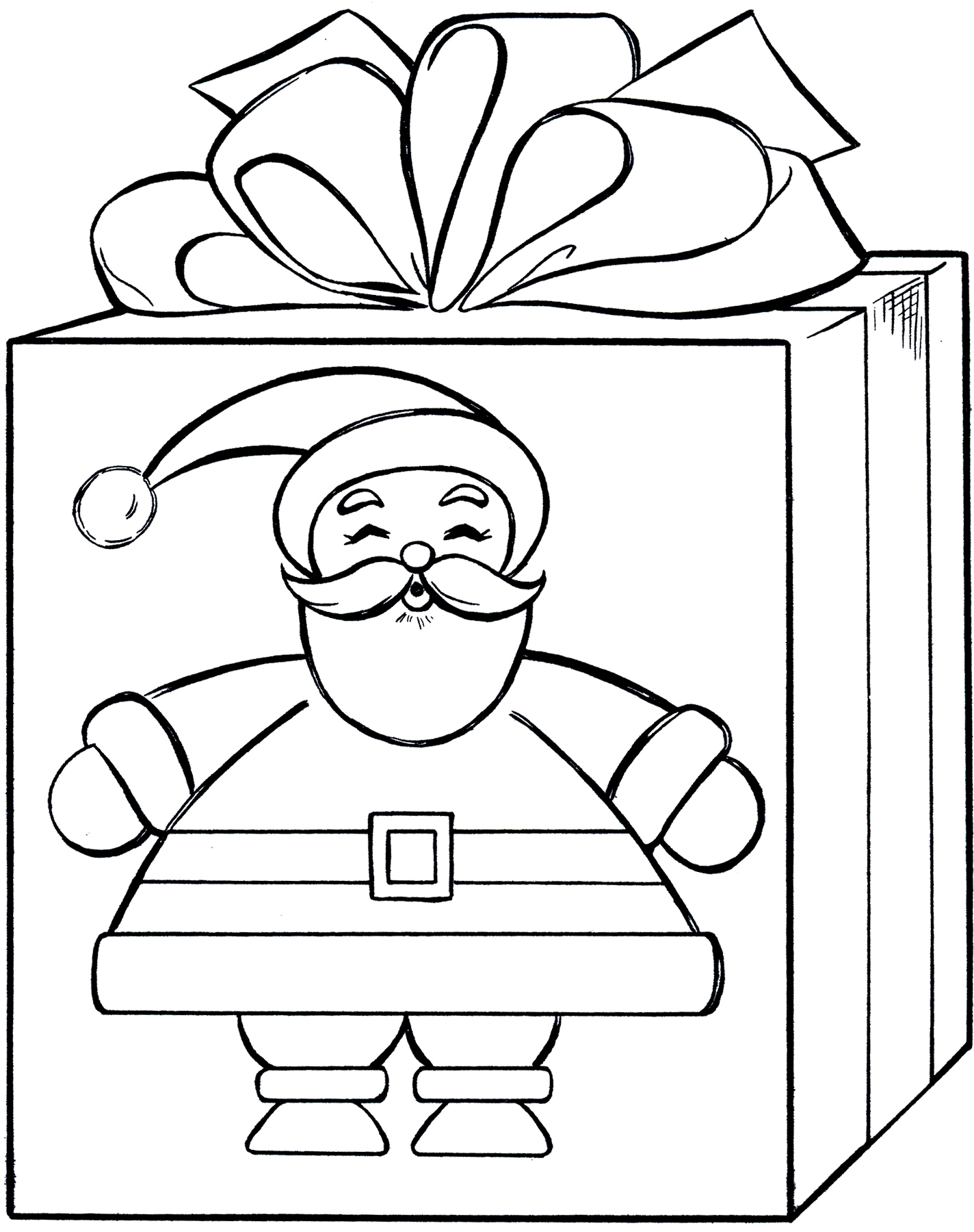Santa Coloring Clipart With Gift Graphics Illustrations Free Download On