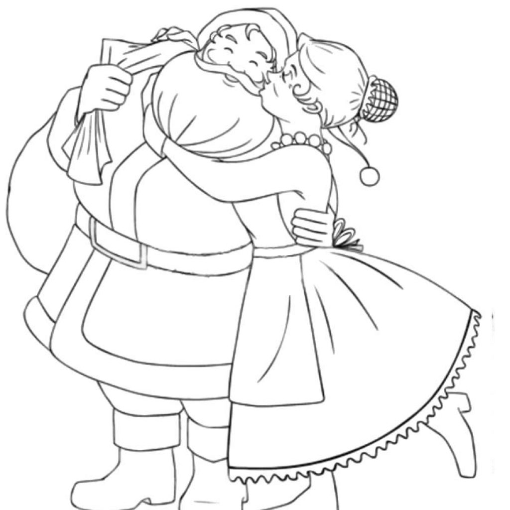 Santa Coloring Clipart With Mr Mrs Claus Pages 00 Holidays Etc