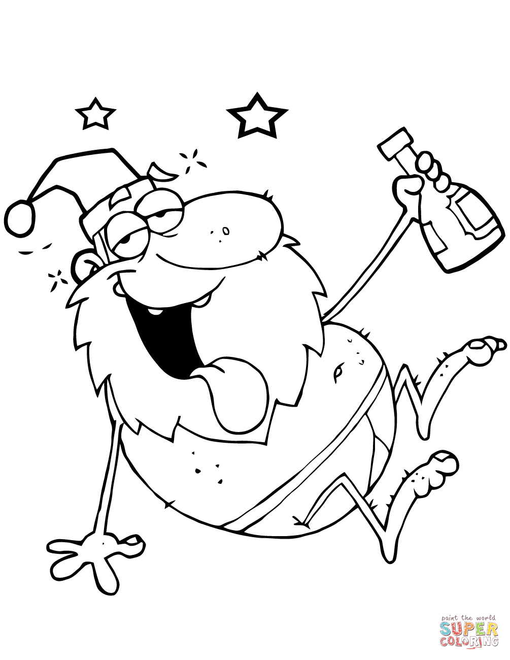 Santa Coloring Face With Drunk Claus Page Free Printable Pages