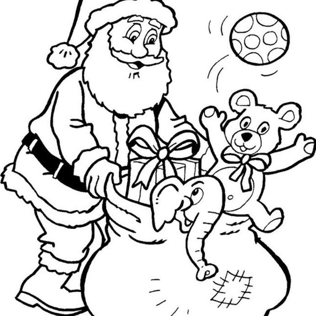 Santa Coloring In Pictures With Claus And Presents Printable Pages Christmas Some