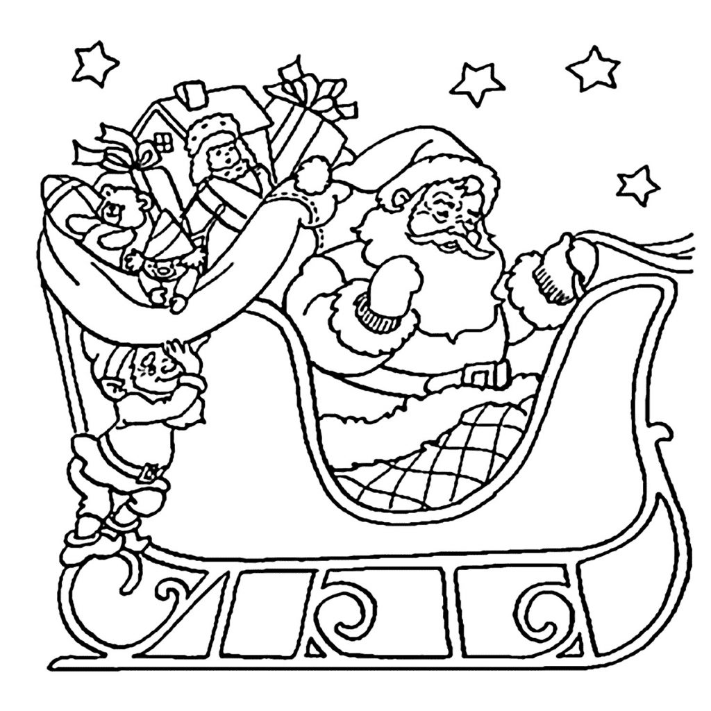 Santa Coloring In Pictures With Pages Fresh Christmas Sleigh Awesome Of Page