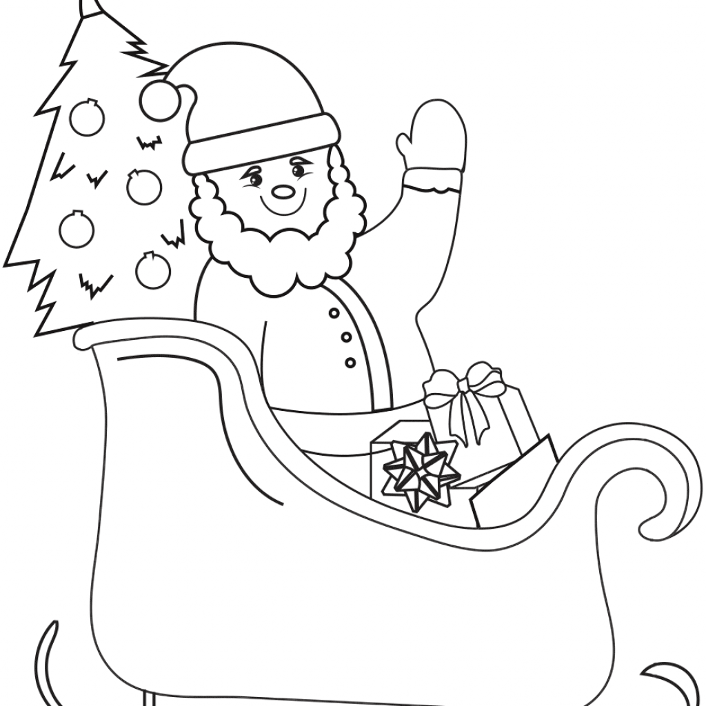 Santa Coloring In With On Sleigh Page Free Printable Pages
