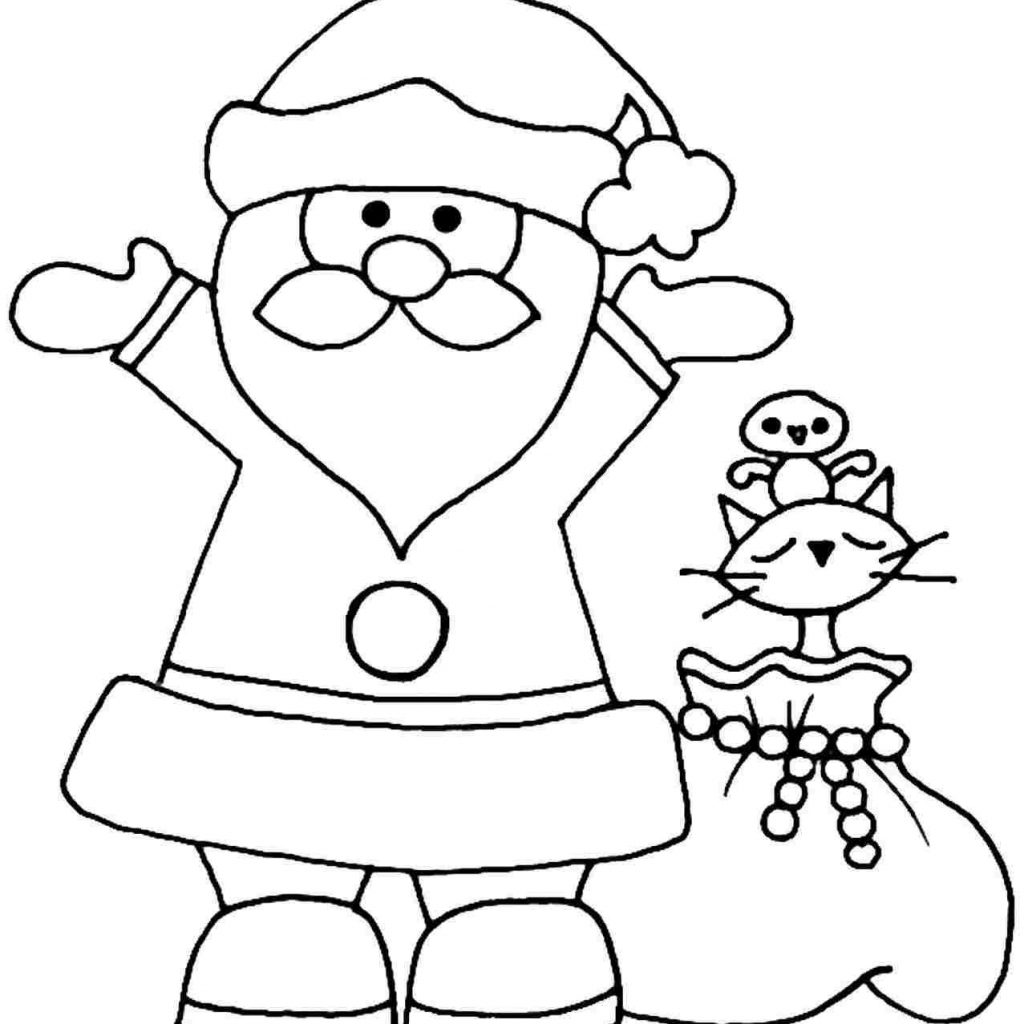 Santa Coloring Kindergarten With Christmas Pages For Ststephenuab Com