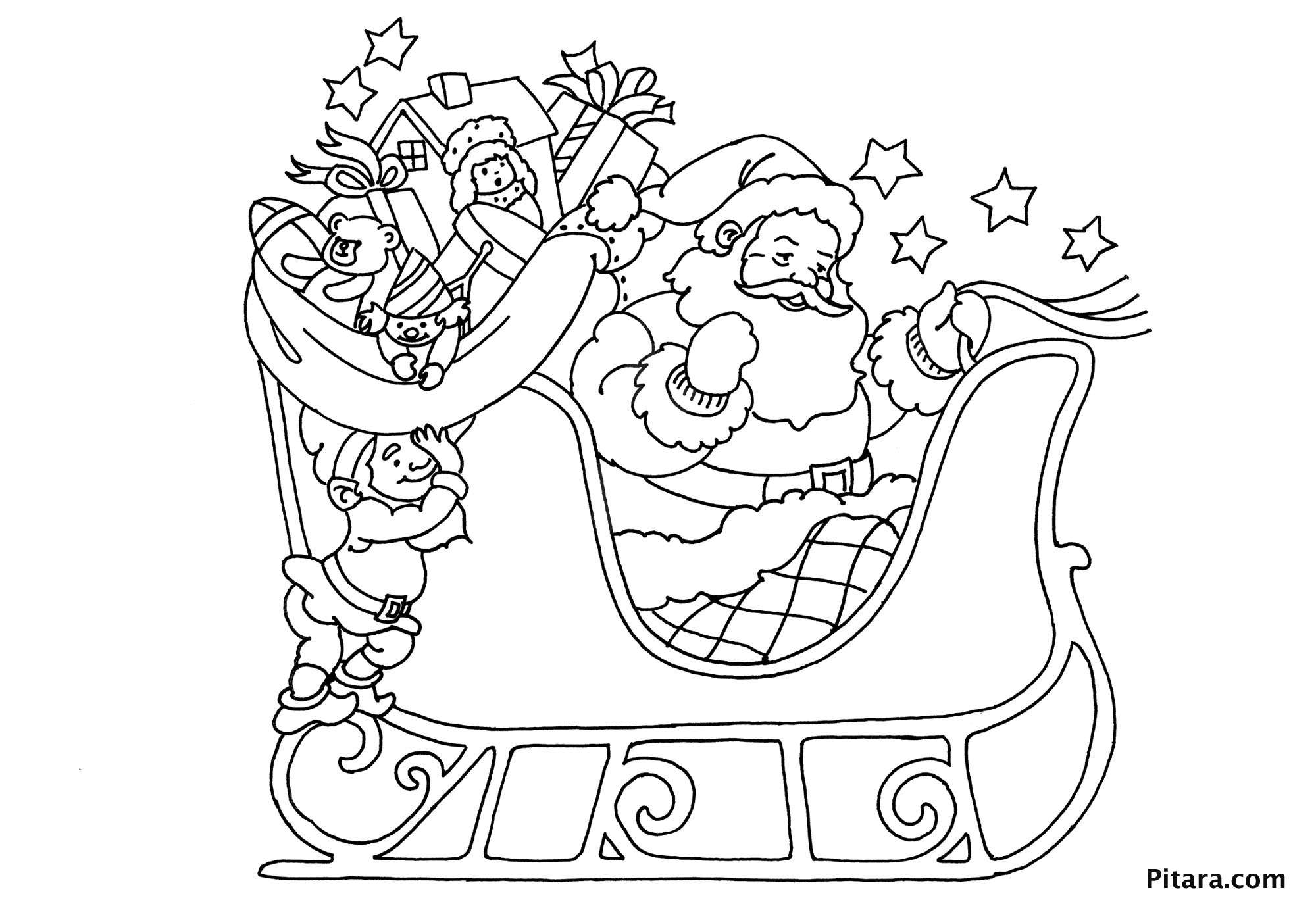 Santa Coloring Kindergarten With Claus On His Sleigh Pages