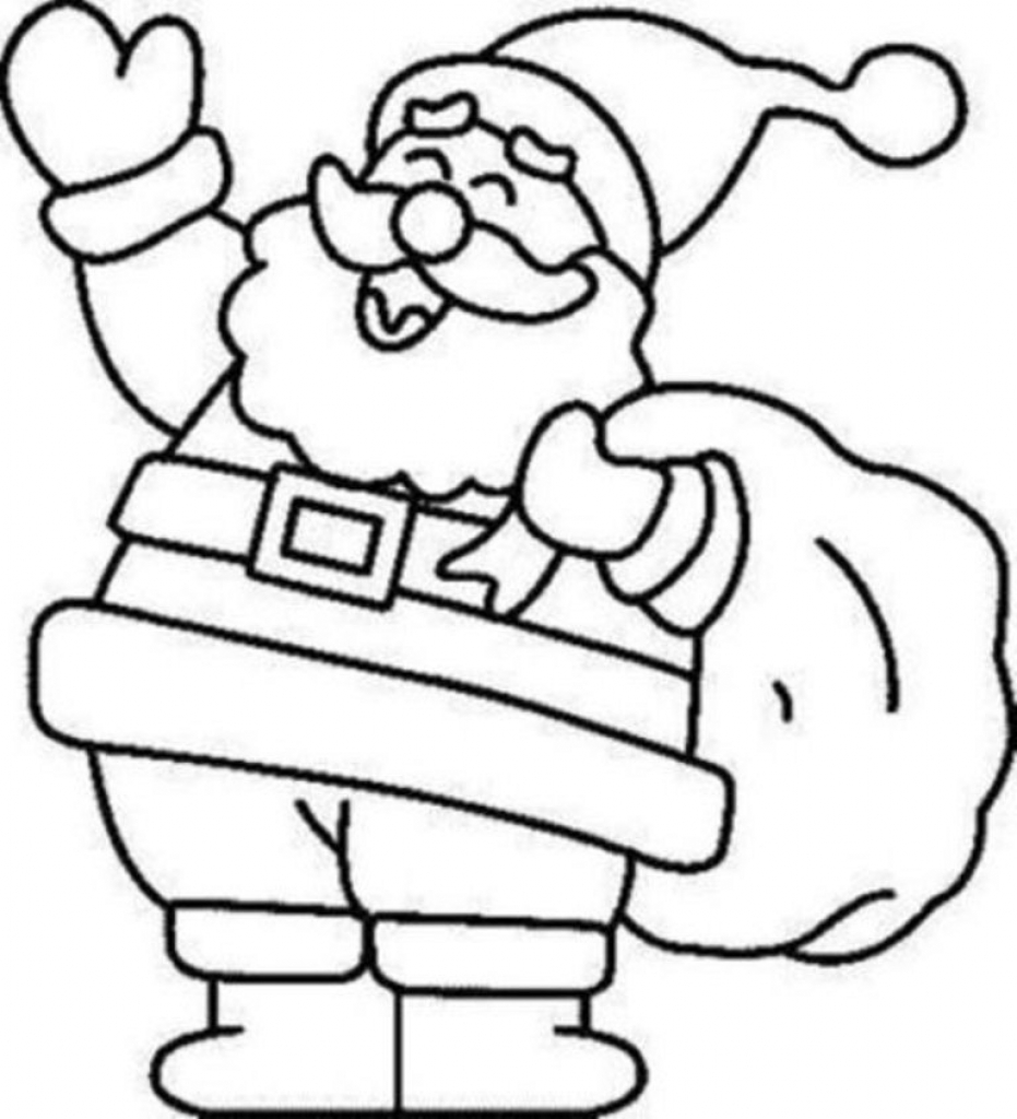 Santa Coloring Page With Claus Pictures To Color Pages