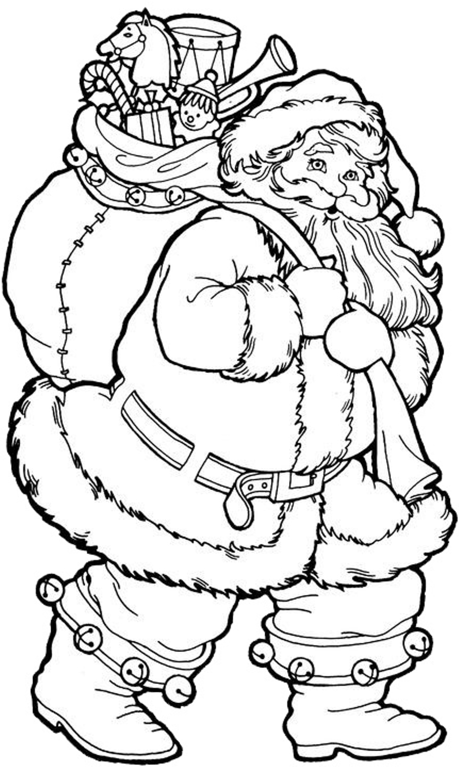 Santa Coloring Page With For Xmas Free Christmas Holidays Pages
