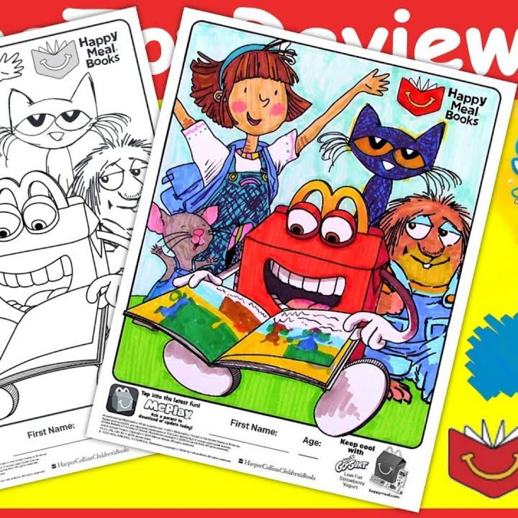Santa Coloring Pages Crayola With McDonald S Happy Meal Books Page Markers Unboxing