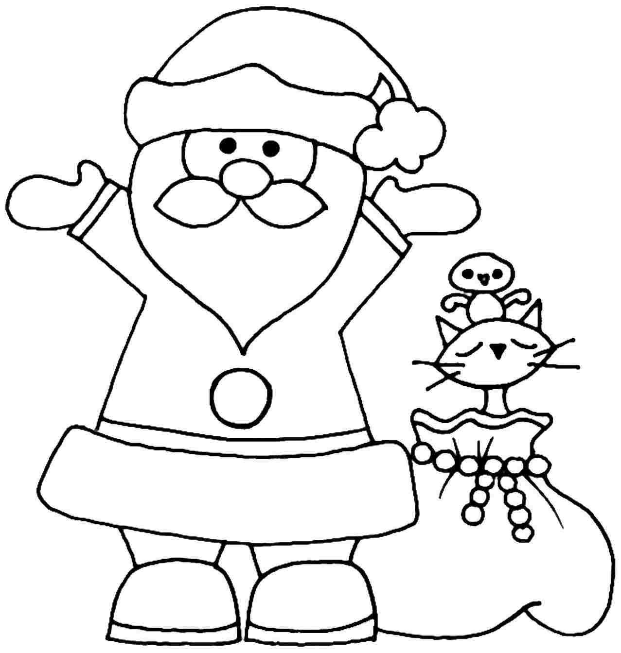 Santa Coloring Pages For Toddlers With Christmas Kindergarten Ststephenuab Com