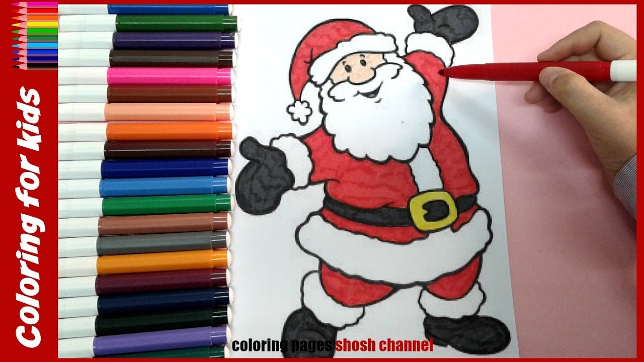 Santa Coloring Pages For Toddlers With Christmas Video From
