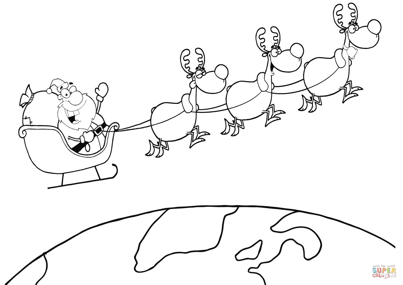 Santa Coloring Pages With Reindeer And Free