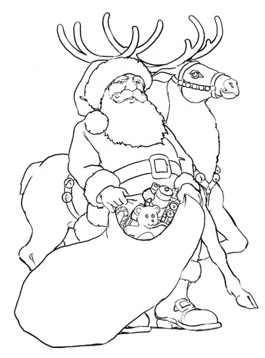 Santa Coloring Pages With Reindeer And To Print ColoringStar