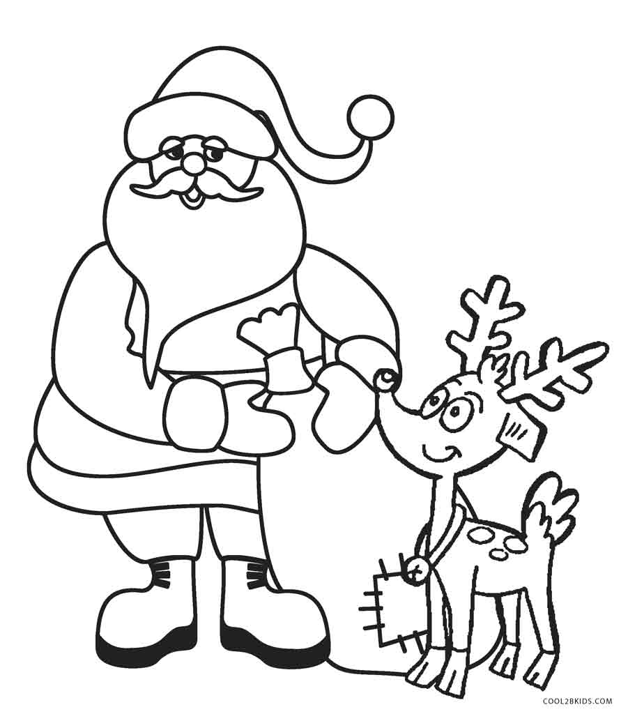 Santa Coloring Pages With Reindeer Free Printable For Kids Cool2bKids