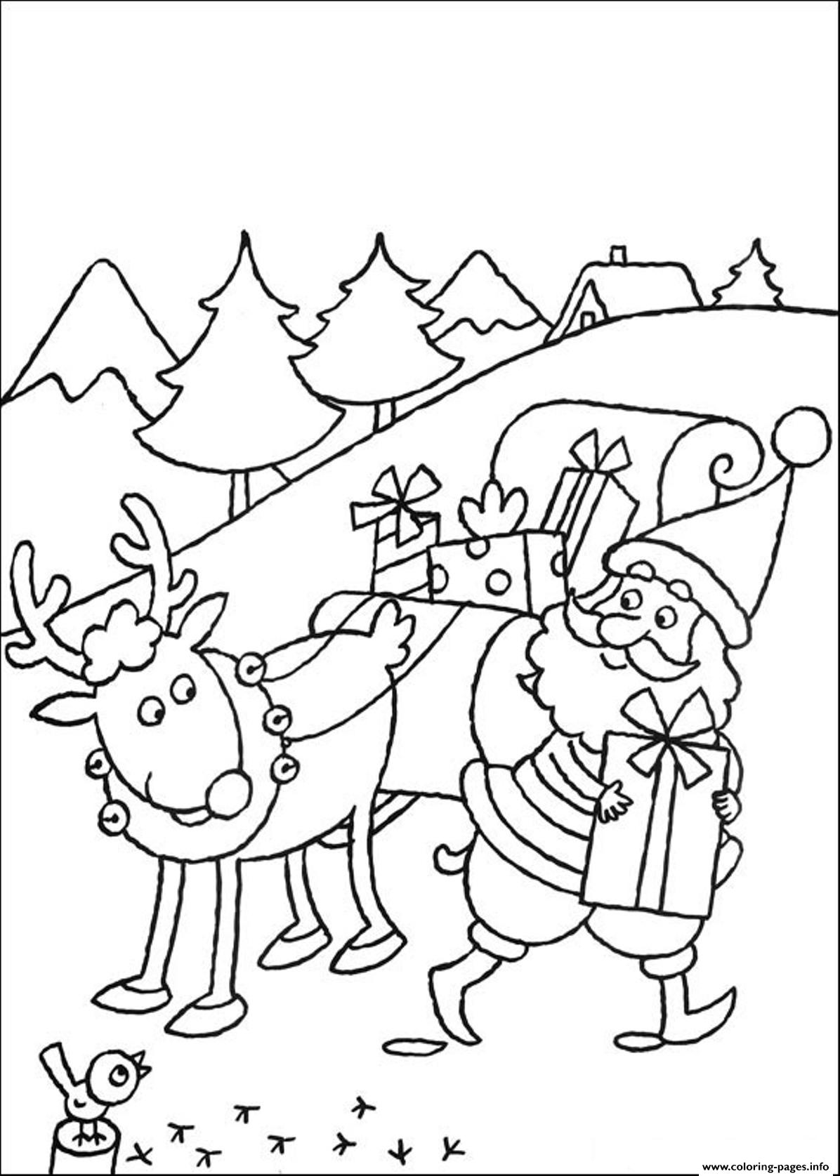 Santa Coloring Pages With Reindeer Kids And S824c Printable