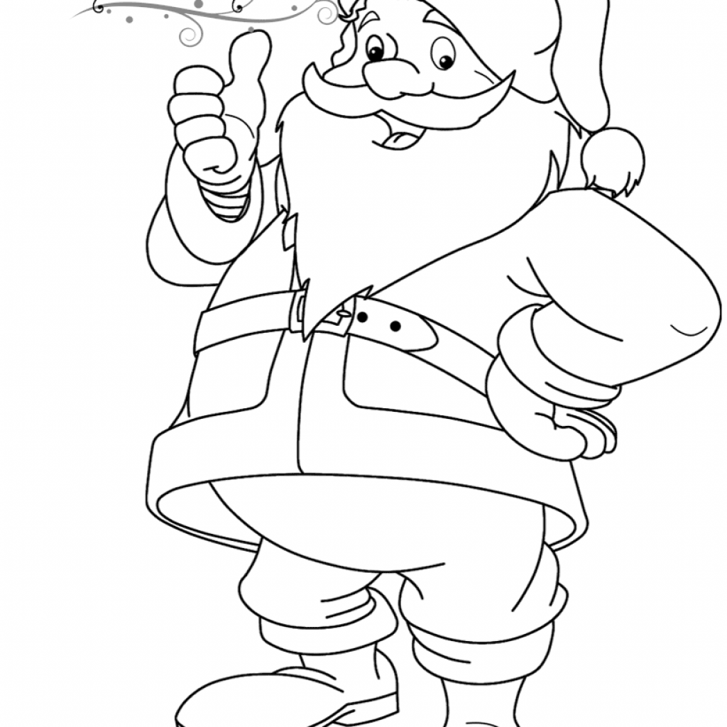Santa Coloring Paper With Funny Claus Page Free Printable Pages